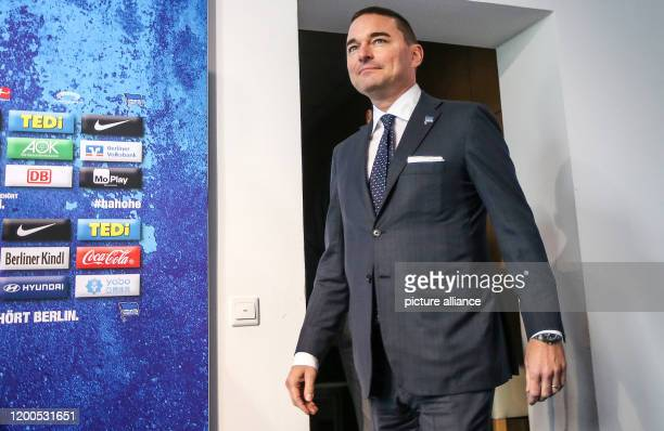 February 2020, Berlin: Bundesliga, Hertha BSC press conference: Investor Lars Windhorst comes to a press conference after the resignation of coach...