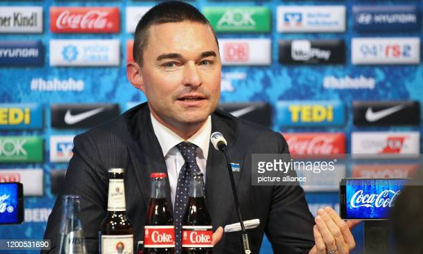 February 2020, Berlin: Bundesliga, Hertha BSC press conference: Investor Lars Windhorst gives a press conference after the resignation of coach...