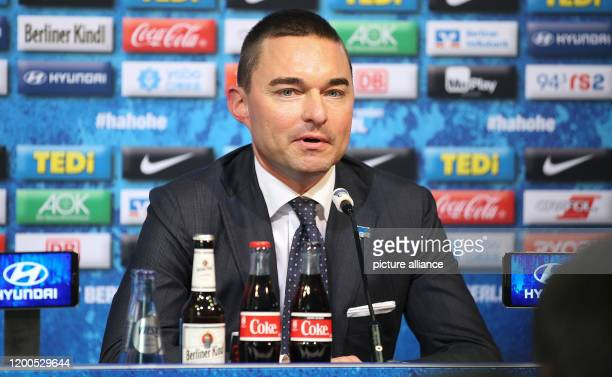 February 2020, Berlin: Bundesliga, Hertha BSC press conference: The investor Lars Windhorst gives a press conference after the resignation of coach...