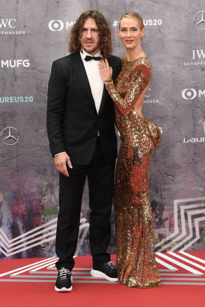 Carles Puyol football player comes with his wife Vanessa Lorenzo to the Laureus Sport Awards ceremony Photo Jörg Carstensen/dpa