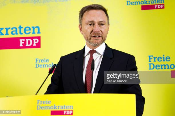 February 2020, Berlin: Christian Lindner, party chairman of the FDP and parliamentary party leader in the Bundestag, makes a statement on the...