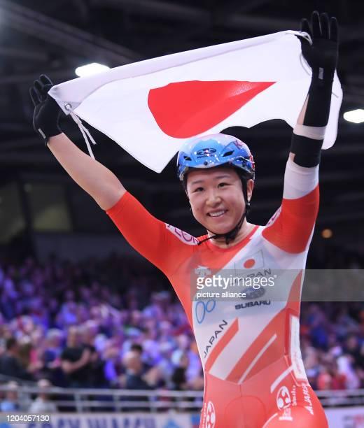 Cycling/track World Championship Omnium women finals points race Yumi Kajihara is happy after her victory Photo Sebastian Gollnow/dpa