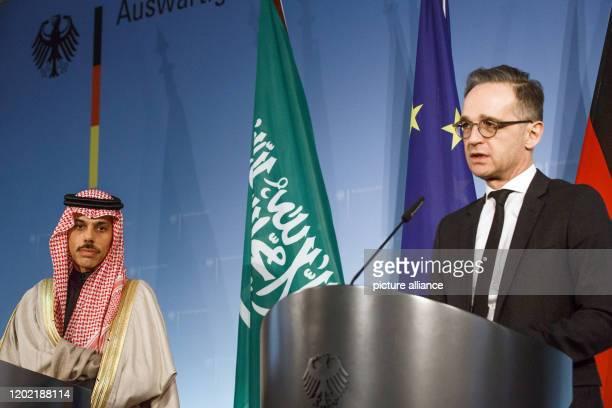 February 2020, Berlin: Heiko Maas , Federal Minister of Foreign Affairs, and his Saudi Arabian counterpart Prince Faisal bin Farhan al-Saud make...