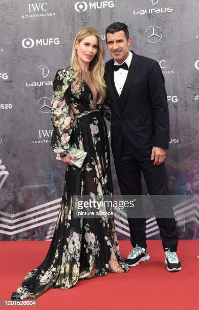 Luis Figo a former football player comes with his wife Helen Svedin to the Verti Music Hall for the presentation of the Laureus Sport Awards Photo...