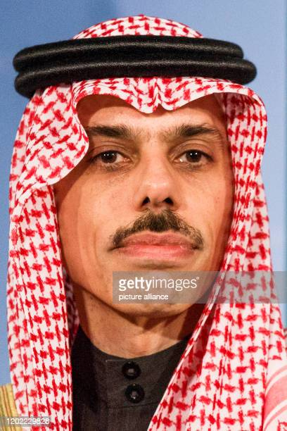 February 2020, Berlin: Prince Faisal bin Farhan Al Saud, Foreign Minister of Saudi Arabia, speaks at a press conference at the Federal Foreign Office...