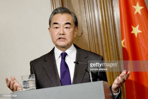February 2020, Berlin: Wang Yi, State Councillor for Foreign Affairs and Foreign Minister of the People's Republic of China, speaks at a press...