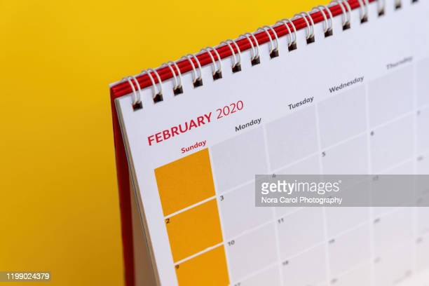 february 2020 calendar - february stock pictures, royalty-free photos & images