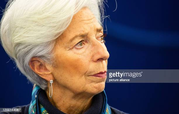 Christine Lagarde President of the European Central Bank sits in the plenary chamber of the European Parliament Lagarde presents today in the...