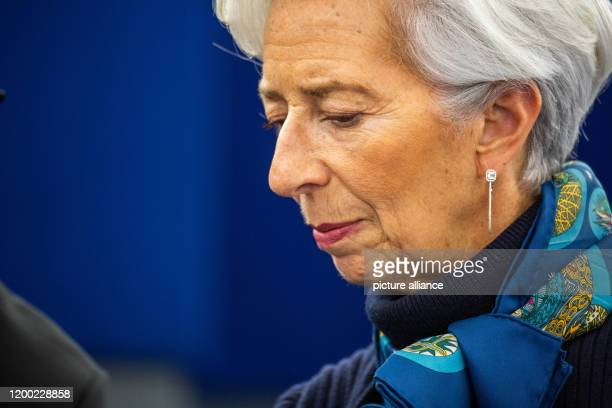 February 2020, France, Straßburg: Christine Lagarde , President of the European Central Bank, sits in the plenary chamber of the European Parliament....