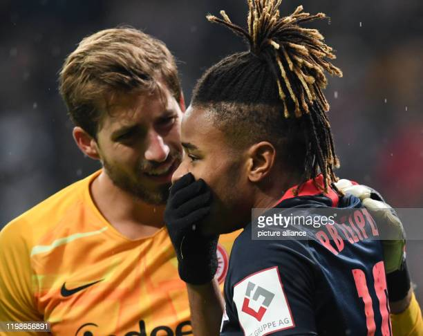 Football DFB Cup Eintracht Frankfurt RB Leipzig round of sixteen in the Commerzbank Arena Frankfurt goalkeeper Kevin Trapp and Leipzig's Christopher...