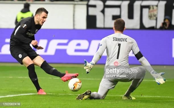 Football Europa League Eintracht Frankfurt RB Salzburg knockout rounds intermediate round first leg in the Commerzbank Arena Frankfurt's Filip Kostic...