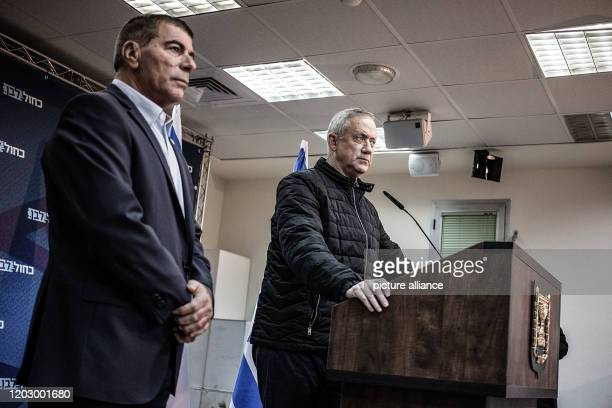 February 2020, Israel, Sderot: Benny Gantz, leader of the Israeli Blue and White party, speaks during a press conference after the Blue and White...