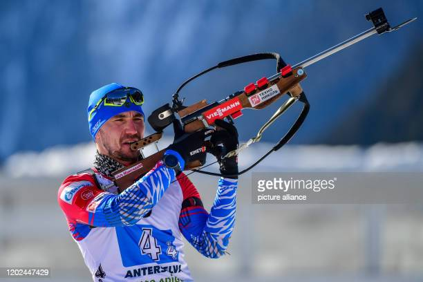 Biathlon World Championship/World Cup relay 4 x 75 km men in the Arena Alto Adige Alexander Loginov from Russia at the shooting range Photo Hendrik...