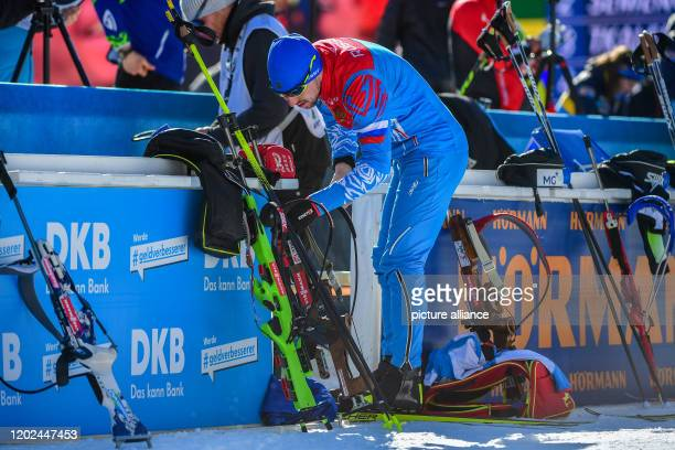 Biathlon World Championship/World Cup relay 4 x 75 km men in the Arena Alto Adige Alexander Loginov from Russia before the competition Photo Hendrik...