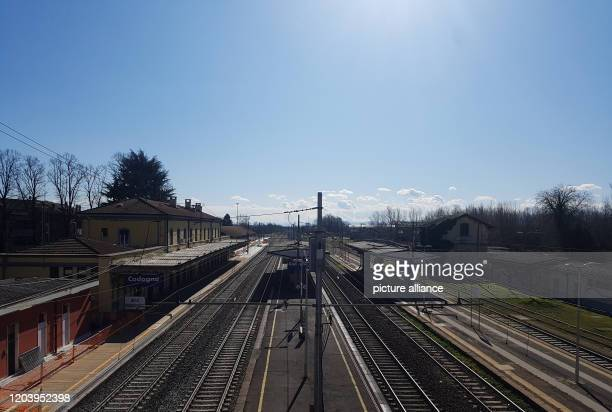 February 2020, Italy, Codogno: The station seems deserted. All shops except pharmacies and supermarkets are closed in the village. The city of around...