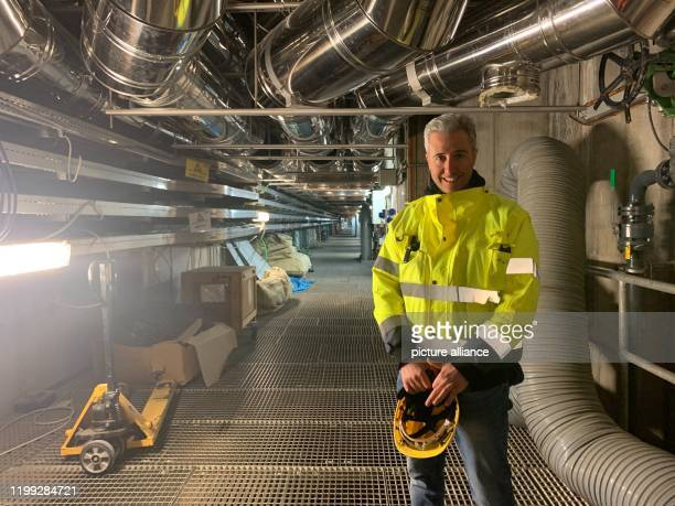The site manager and engineer Alessandro Soru is standing in the flood protection system MOSE which is due to be completed Three months after the...