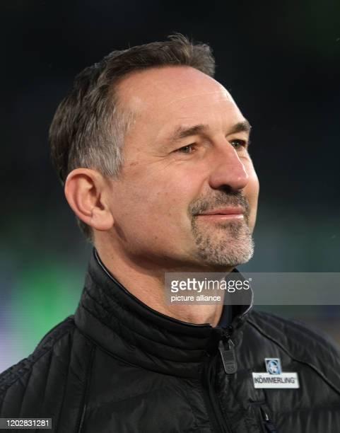 23 February 2020 Lower Saxony Wolfsburg Football Bundesliga VfL Wolfsburg FSV Mainz 05 23rd matchday in the Volkswagen Arena Mainz coach Achim...