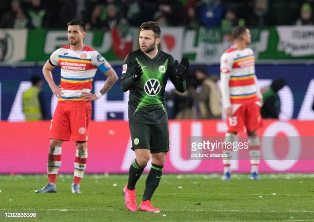 23 February 2020 Lower Saxony Wolfsburg Football Bundesliga VfL Wolfsburg FSV Mainz 05 23rd matchday in the Volkswagen Arena Wolfsburg's Renato...