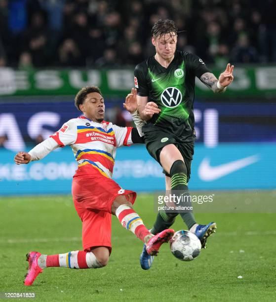 23 February 2020 Lower Saxony Wolfsburg Football Bundesliga VfL Wolfsburg FSV Mainz 05 23rd matchday in the Volkswagen Arena Wolfsburg's Wout...