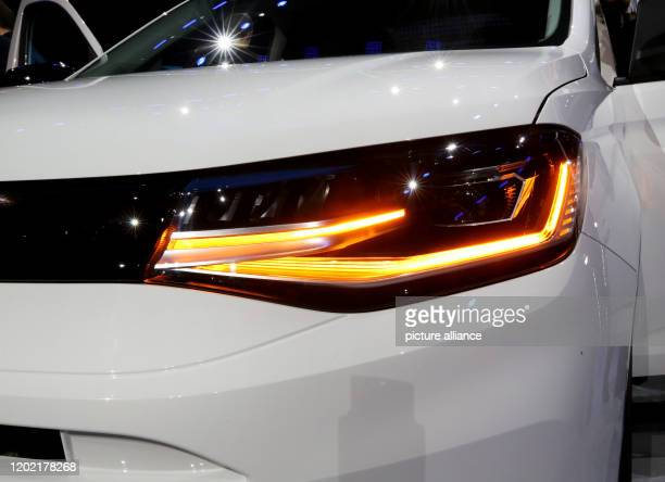 20 February 2020 North RhineWestphalia Duesseldorf The photo shows the new lighting of the new VW Caddy 5 Cargo The premiere of the new VW Caddy 5...