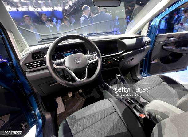 20 February 2020 North RhineWestphalia Duesseldorf The photo shows the cockpit of the new VW Caddy 5 Life Photo Roland Weihrauch/dpa