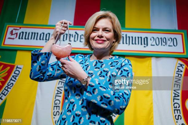 03 February 2020 RhinelandPalatinate Schifferstadt Julia Klöckner Federal Minister of Agriculture holds the prize of the carnival and dance sport...