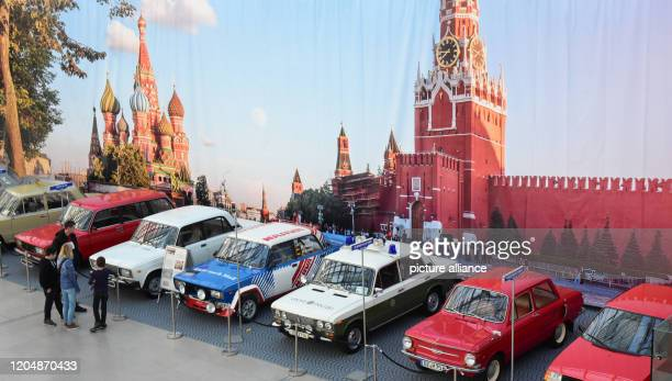 February 2020, Saxony, Leipzig: At the Haus-Garten Freizeit trade fair at the New Trade Fair Centre in Leipzig, classic cars from the Soviet Union...