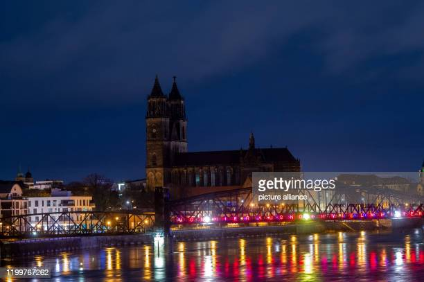 10 February 2020 SaxonyAnhalt Magdeburg Clouds pass over the buildings of the state capital of SaxonyAnhalt Storm low Sabine had brought rain in the...