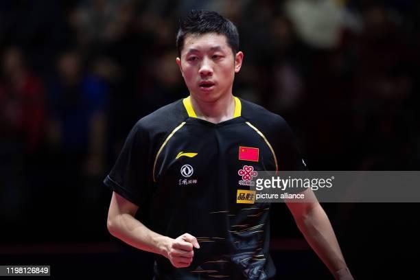 February 2020, Saxony-Anhalt, Magdeburg: Table tennis: German Open, men's, singles, final, Xu - Ma . Xu Xin clenches his fist Photo: Swen Pförtner/dpa