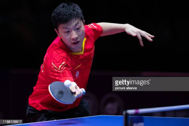 February 2020, Saxony-Anhalt, Magdeburg: Table tennis: German Open, men's, singles, final, Xu - Ma . Ma Long in action. Photo: Swen Pförtner/dpa