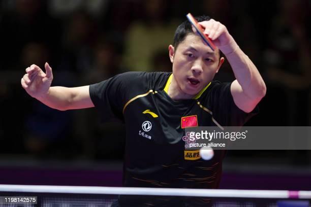 February 2020, Saxony-Anhalt, Magdeburg: Table tennis: German Open, men's, singles, final, Xu - Ma . Xu Xin in action. Photo: Swen Pförtner/dpa
