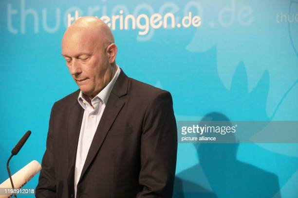 Thomas Kemmerich Minister President of Thuringia gives a statement at the Seed Office The FDP candidate Kemmerich was surprisingly elected head of...
