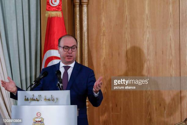 February 2020, Tunisia, Tunis: Tunisian new Prime Minister Elyes Fakhfakh, speaks during a government handover ceremony from former Prime Minister...