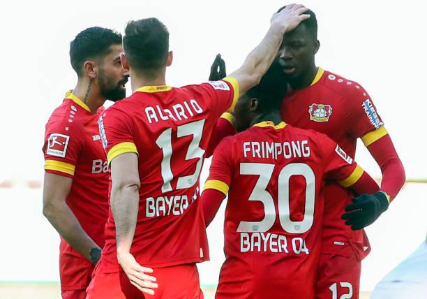 February 2021, Bavaria, Augsburg: Football: Bundesliga, FC Augsburg - Bayer Leverkusen, Matchday 22 at WWK Arena. Leverkusen's Edmond Tapsoba...