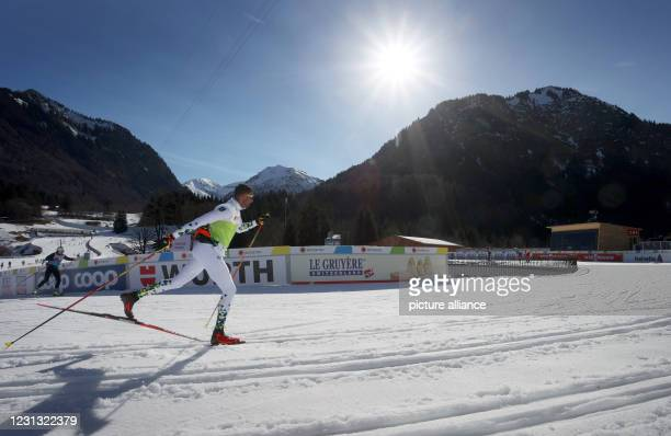February 2021, Bavaria, Oberstdorf: Nordic skiing: World Championships, cross-country training, women/men. An athlete from Brazil runs in the...