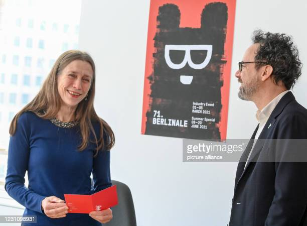 February 2021, Berlin: The Berlinale's management duo, Mariette Rissenbeek, managing director, and Carlo Chatrian, artistic director, at a press...