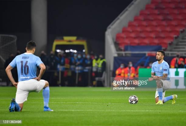 February 2021, Hungary, Budapest: Football: Champions League, Borussia Mönchengladbach - Manchester City, knockout round, round of 16, first leg at...