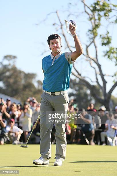 Bubba Watson reacts after making the winning putt to win the Northern Trust Open at Riviera Country Club in Pacific Palisades CA February 21 2016...