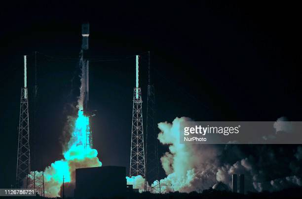 February 21 2019 Cape Canaveral Florida United States A SpaceX Falcon 9 rocket launches on February 21 2019 from pad 40 at Cape Canaveral Air Force...