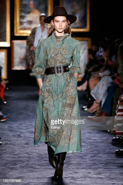 February 21: A model walks the runway during the Etro fashion show as part of Milan Fashion Week Fall/Winter 2020-2021 on February 21, 2020 in Milan,...