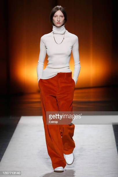 February 21: A model walks the runway during the Tod's fashion show as part of Milan Fashion Week Fall/Winter 2020-2021 on February 21, 2020 in...