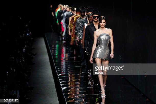 February 21: Atmosphere during the Versace fashion show as part of Milan Fashion Week Fall/Winter 2020-2021 on February 21, 2020 in Milan, Italy.