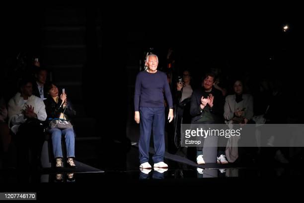 February 21: Fashion designer Giorgio Armanio during the Emporio Armani fashion show as part of Milan Fashion Week Fall/Winter 2020-2021 on February...