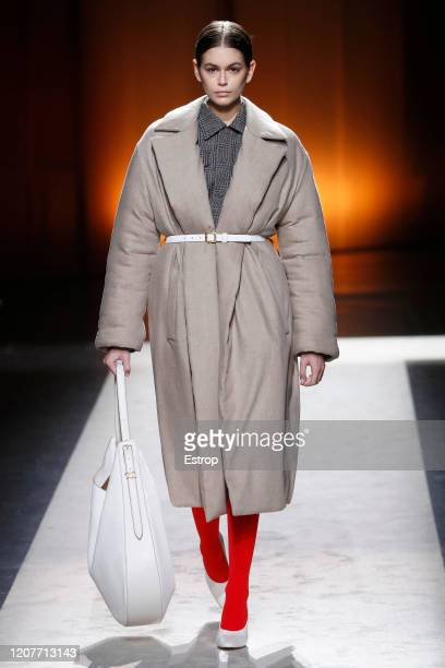 February 21: Model Kaia Gerber walks the runway during the Tod's fashion show as part of Milan Fashion Week Fall/Winter 2020-2021 on February 21,...