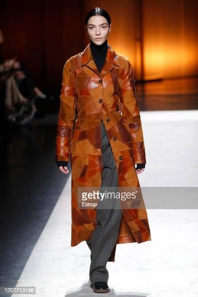 February 21: Model Mariacarla Boscono walks the runway during the Tod's fashion show as part of Milan Fashion Week Fall/Winter 2020-2021 on February...