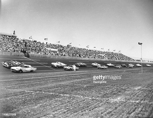The field gets set for the start of the first Daytona 500 at Daytona International Speedway Pictured are the 1959 Ford Thunderbirds of Fritz Wilson...