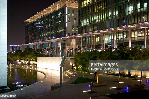 February 22 2012 Dubai International Financial Center at night in the central downtown business district