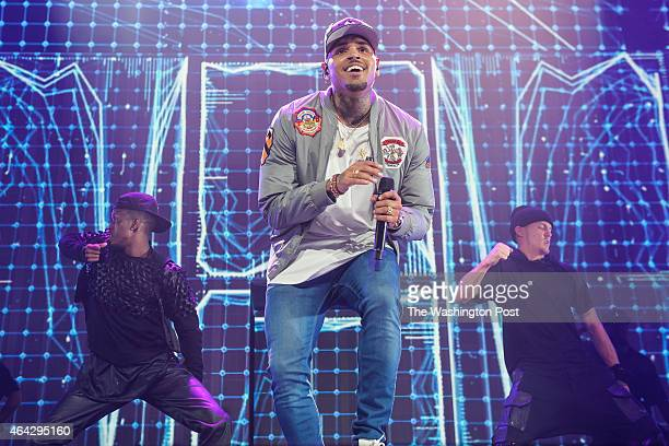 WASHINGTON DC February 22 2015 Chris Brown performs at the Verizon Center in Washington DC as part of the Between The Sheets Tour with Trey Songz...