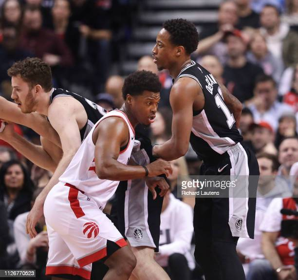February 22 In first half action, friends Toronto Raptors guard Kyle Lowry and San Antonio Spurs guard DeMar DeRozan guard each other. The Toronto...
