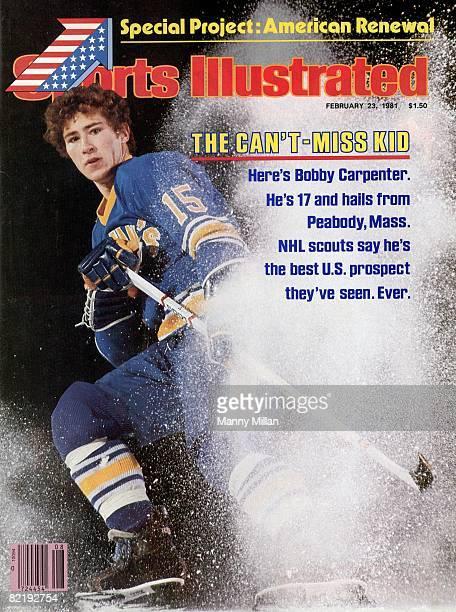 February 23 1981 Sports Illustrated Cover High School Hockey Portrait of St John's Preparatory School Bobby Carpenter Peabody MA 2/14/1981 CREDIT...